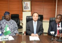 Senator Otunba Olabiyi Durojaiye, Houlen Zhao, Prof. Umar Garba Danbatta