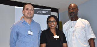 L-R: Chief Executive Officer and Co-founder of Oradian, Mr. Antonio Separovic; Mr. Antonio Separovic, Mrs. Florence Omofonmwam, Mr. Onyeka Adibeli