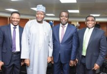Ikechukwu Nnamani, 1st Vice President ATCON; PIkechukwu Nnamani, Umar Danbatta, Olusola Teniola, Tony Ojobo
