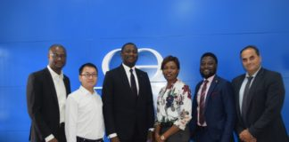 Adeshile Adekanmbi – Product Manger, ATM & POS, CWG Plc; Denis May – Deputy Project Director, Africa Region – GRG Banking; Adewale Adeyipo – VP, Sales & Marketing, CWG Plc; Anthonia Ehanmo – Group Head, Brand & Marketing Communications, CWG Plc; Oluwafemi Adeniyi – Country Manager, GRG, Nigeria & Ghana and George Kaloutas, Sales Manager, Africa Region, GRG Banking during a Partner's meeting held at CWG Head Office in Lagos yesterday