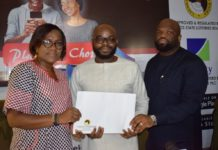(L-r): Head, Legal, Lagos State Lotteries Board, Mrs. Adebanke Ogunode; co-founders of Ekojara, Hillary Nwaukor and Olayemi Agbe-Davies, respectively, during the presentation of certificate of authorisation to Koborise App Technologies Ltd by Lagos State Lotteries Board at the media launch of Ekojara in Lagos, yesterday